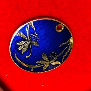 ❣️4/$15 Blue & Gold Tone Floral Enamel Pendant